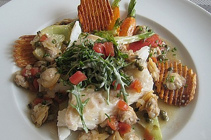 Schellfischloin an Muschel - Kapern - Sauce mit geschmortem Gemüse 2