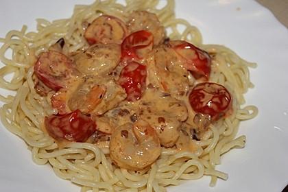 Spagetti mit Garnelen - Sahnesoße mit Cocktailtomaten 4