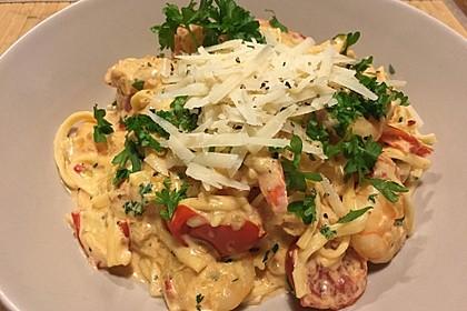 Spagetti mit Garnelen - Sahnesoße mit Cocktailtomaten 2
