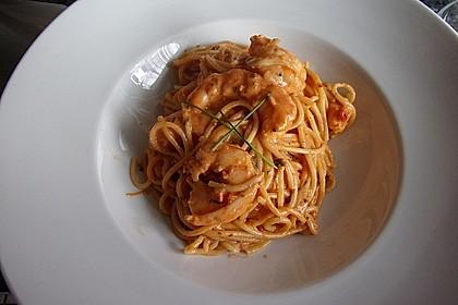 Spagetti mit Garnelen - Sahnesoße mit Cocktailtomaten 1