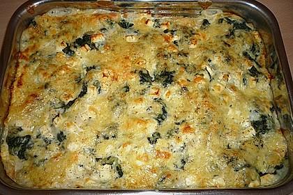 Spinat - Lasagne mit Schinken und Schafskäse