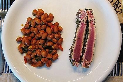 Tagliata vom Thunfisch mit toskanischen Bohnen