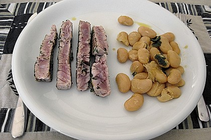 Tagliata vom Thunfisch mit toskanischen Bohnen 1