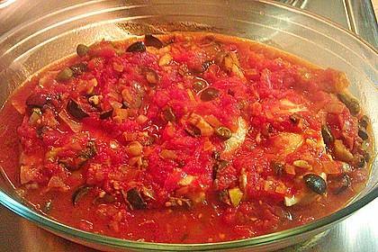 Hähnchenbrust in Tomaten - Kapern - Oliven - Sauce 3