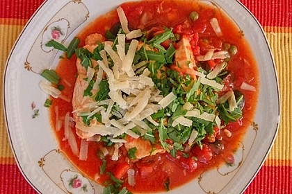 Hähnchenbrust in Tomaten - Kapern - Oliven - Sauce