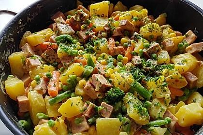 Schnelle Leberkäse - Kartoffel - Gemüse - Pfanne 1