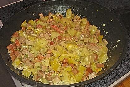Schnelle Leberkäse - Kartoffel - Gemüse - Pfanne 4