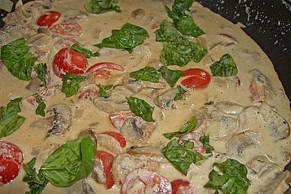 Champignon - Käse - Sauce auf Spaghetti 8