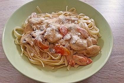 Champignon - Käse - Sauce auf Spaghetti 6