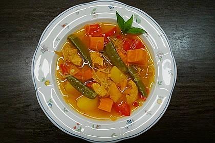 Scharfe asiatische Suppe mit deutschen Einflüssen