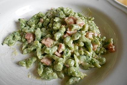 Spinat - Spatzen mit Schinken - Rahm - Sauce 3