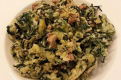 Spinat - Spatzen mit Schinken - Rahm - Sauce 7