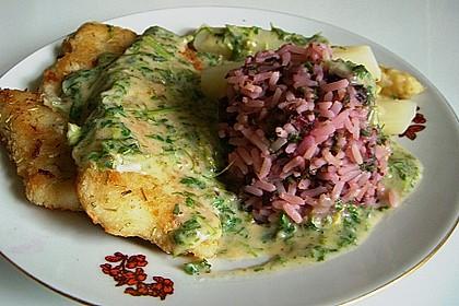 Roter Reis mit Fischfilet, Spargel und Kerbel - Kräutersoße