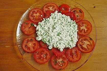 Tomatencarpaccio mit Hüttenkäse 6