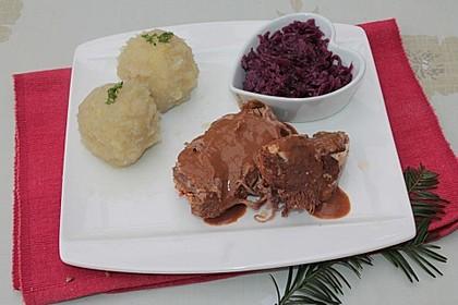 Rinderbraten in Malzbier - Rotwein Soße