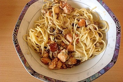 Pasta mit Lachs - Carbonara 2
