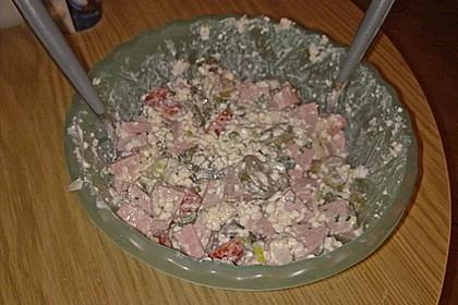 Putenwurstsalat mit Hüttenkäse 7