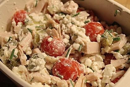 Putenwurstsalat mit Hüttenkäse 4