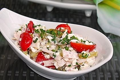 Putenwurstsalat mit Hüttenkäse