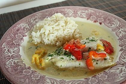 Fisch auf gelber Paprikasoße 3