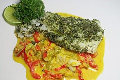 Fisch auf gelber Paprikasoße 5