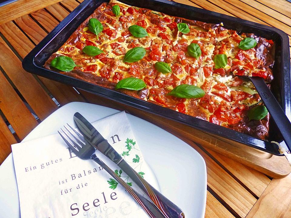 Sommergerichte Zucchini : Zucchini tomaten quiche von melini chefkoch