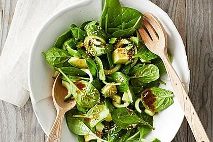 Spinat - Avocado - Gurken - Salat mit Wasabi - Dressing 6