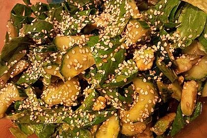 Spinat - Avocado - Gurken - Salat mit Wasabi - Dressing 1