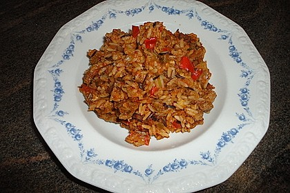 Jambalaya mit Hähnchen und Krabben