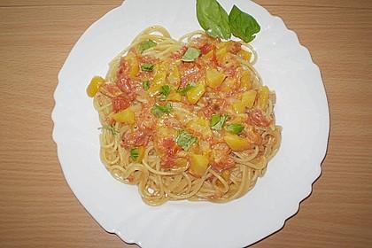 Spaghetti mit Pfirsich - Ingwer Sauce 3