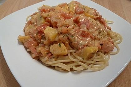 Spaghetti mit Pfirsich - Ingwer Sauce 1