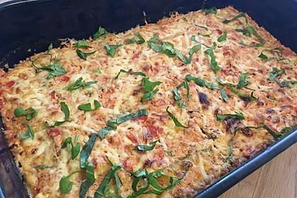 Zucchini - Gratin mit Tomaten - Quark - Sauce
