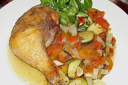 In Absinth geschmorte Hühnerschenkel auf Fenchel - Zucchini - Gemüse 1