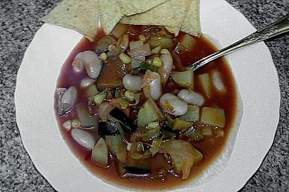 Mexikanische Gemüsesuppe mit Tortillachips 1