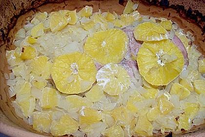 Zwiebel - Putenbraten mit Orangen aus dem Römertopf