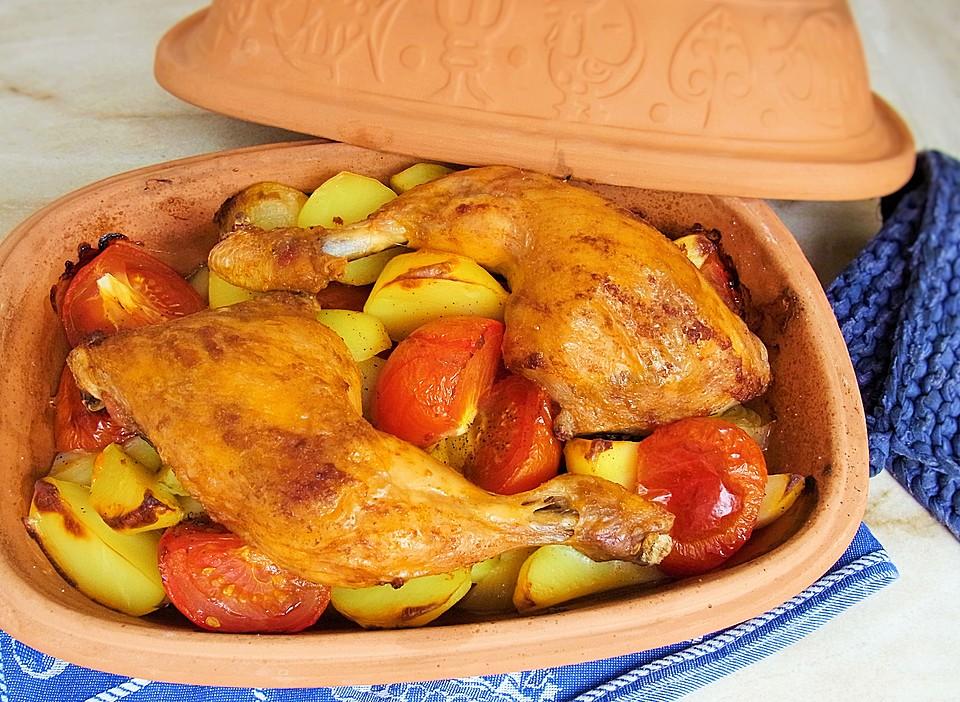 H-hnchen-Tomaten-Zwiebel-Kartoffel-Topf