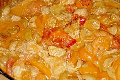 Putengeschnetzeltes mit Champignons, Paprika, Tomaten und Sherry