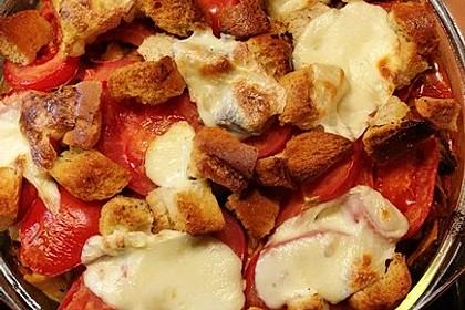 Brotauflauf Tomate - Mozzarella