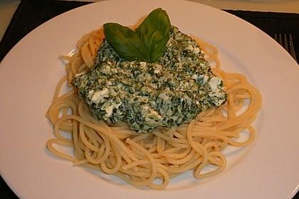 Spaghetti mit Spinat - Feta - Knobi - Soße 2