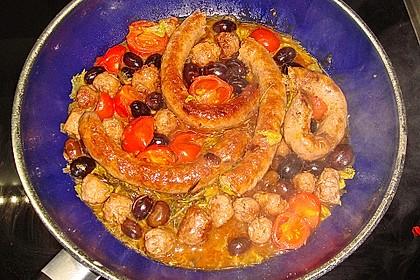 Bratwurst mit Oliven und Rosmarin 1