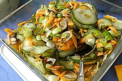 Scharfer süß - saurer thailändischer Gurken - Möhren - Salat