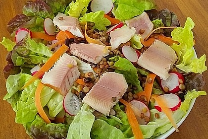 Linsensalat mit geräuchertem Fisch 4