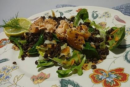 Linsensalat mit geräuchertem Fisch 7