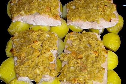 Lachskrüstchen mit Fächerkartoffeln (Bild)