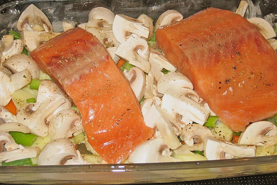 Lachsfilet Mit Schmorgemüse Aus Dem Ofen Von Sandy2509 Chefkochde