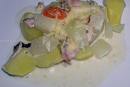 Kartoffel-Kohlrabi-Auflauf mit gekochtem Schinken 7