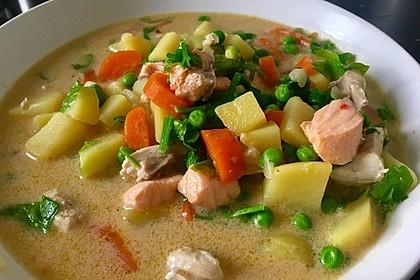 Schnelle Gemüsesuppe mit Kokosmilch und Lachswürfeln 4