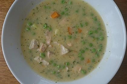 Schnelle Gemüsesuppe mit Kokosmilch und Lachswürfeln 19