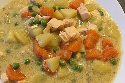 Schnelle Gemüsesuppe mit Kokosmilch und Lachswürfeln 21