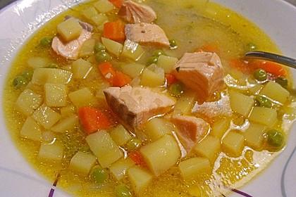 Schnelle Gemüsesuppe mit Kokosmilch und Lachswürfeln 16